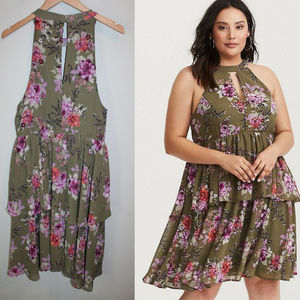 Torrid Floral Sleeveless Ruffle Dress HW7008